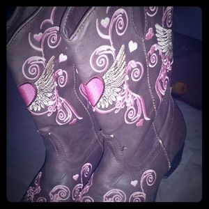 Girls size 2 roper embroidered cowboy boots